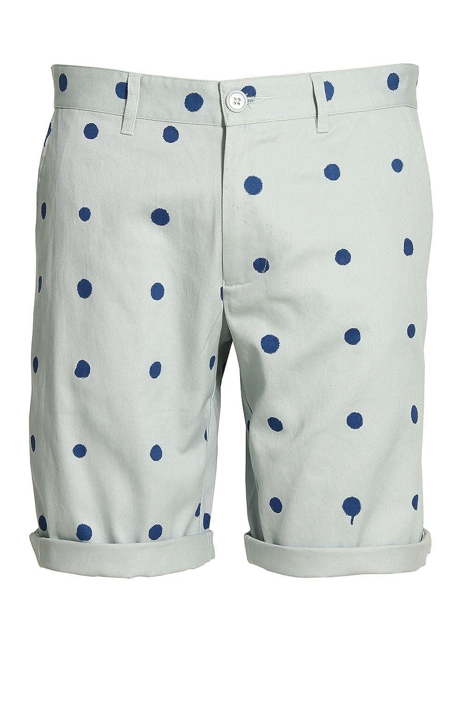 Blue HEROS HEROINE Polka Dot Cotton Twill Shorts