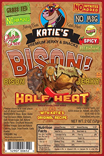 Bison Meat (Bison Spicy Jerky - No Preservatives, Nitrites, or MSG, GLUTEN FREE! (3 Packages))