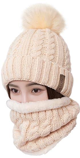 08a509a1 LCZTN Womens Pom Beanie Hat Scarf Set Girls Cute Winter Ski Hat Slouchy  Knit Skull Cap with Fleece Lined
