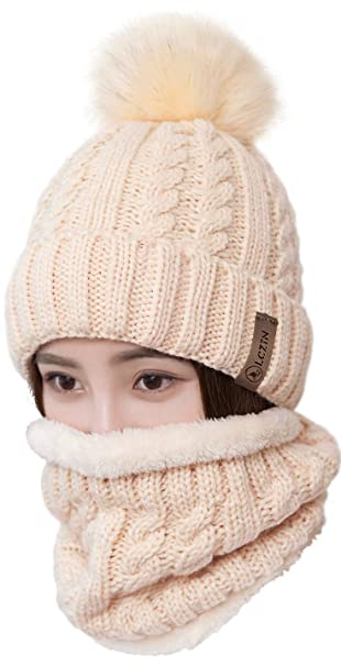 a26763b6 LCZTN Womens Pom Beanie Hat Scarf Set Girls Cute Winter Ski Hat Slouchy  Knit Skull Cap with Fleece Lined at Amazon Women's Clothing store: