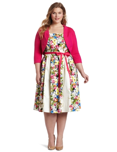 Jessica Howard Women's Plus-Size Bouquet Belted Dress