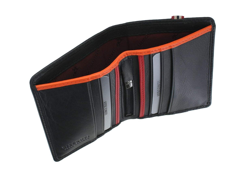 Visconti Colección Bond Cartera James de Cuero para Hombre RFID - BBD14 Negro/Naranja/Rojo: Amazon.es: Equipaje