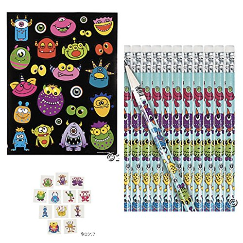 96 pc SILLY MONSTER Party FAVORS - 72 Tattoos 12 Pencils 12 Sticker Sheets - FUNNY Monsters KID'S Birthday
