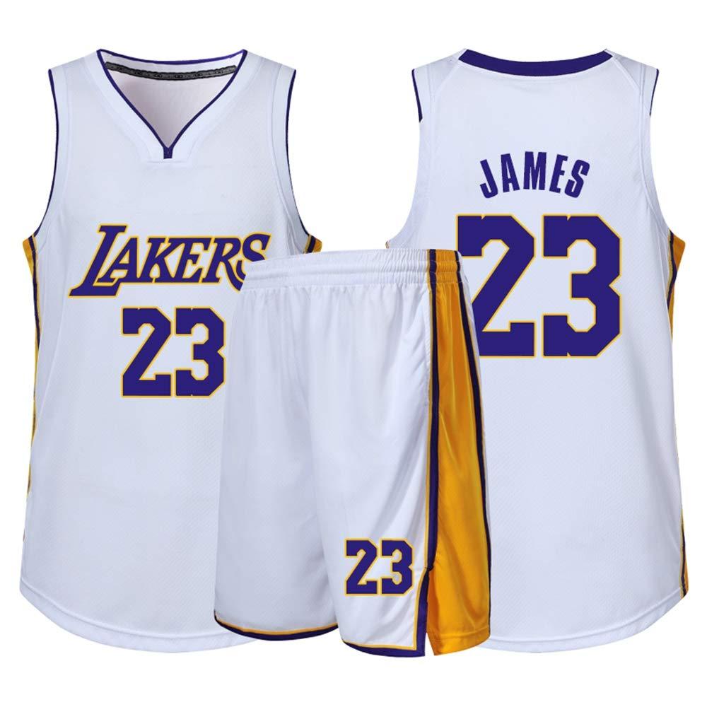 170~175cm BXWA-Sports Jersey di Pallacanestro NBA Lakers # 23 Lebron James per Bambini Adulti Unisex Competizione Sport Squadra Uniformi Pallacanestro Vestiti Set Sportivo,Viola,2XL