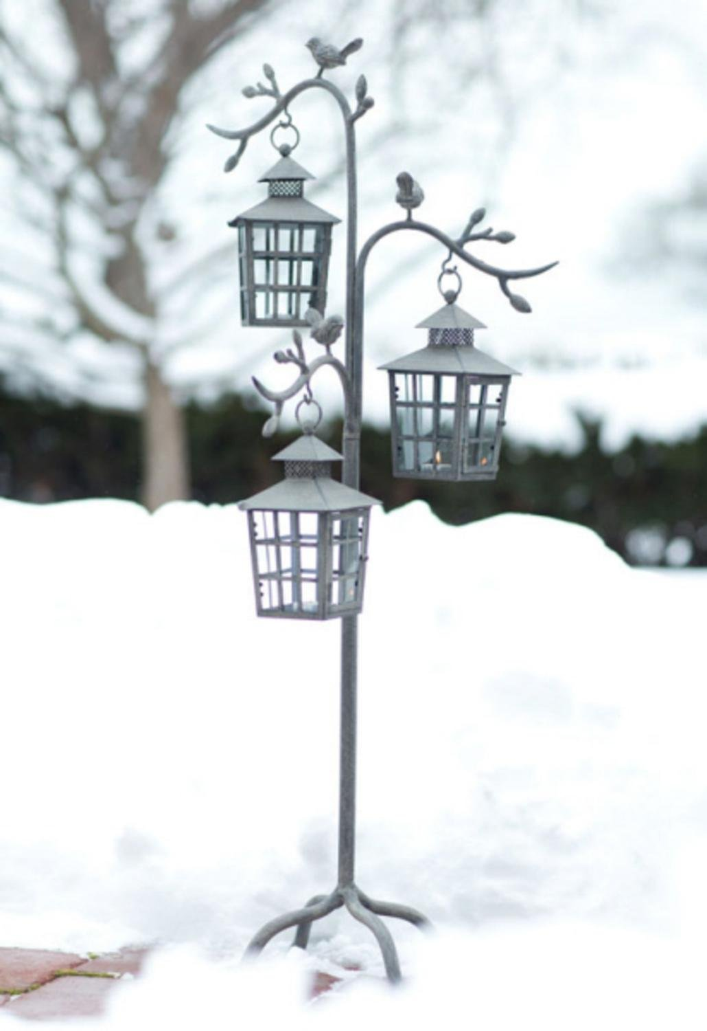 42'' Weathered Gray Decorative Outdoor Votive Candle Holder Lantern Tree with Bird Accents