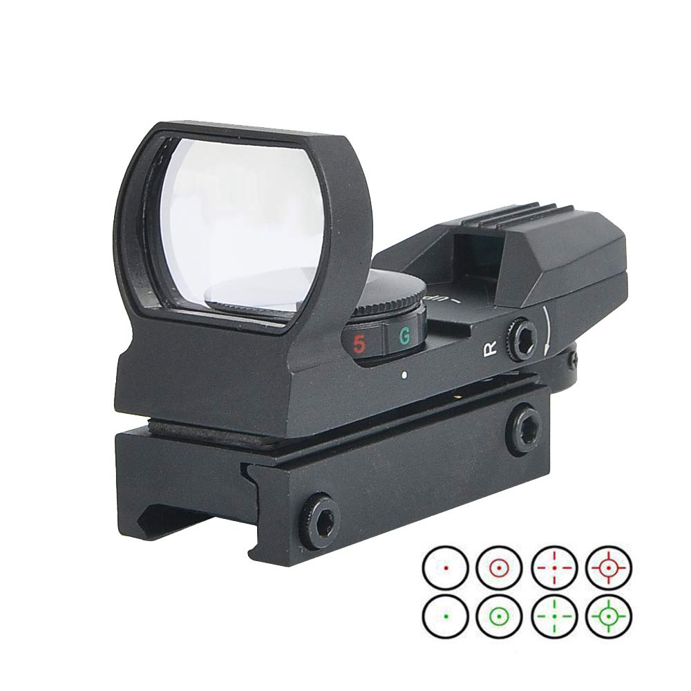 RHYTHMARTS Red Dot Sight 4 Styles Reticles Red & Green Reflex Sight Scope with 20mm Rail