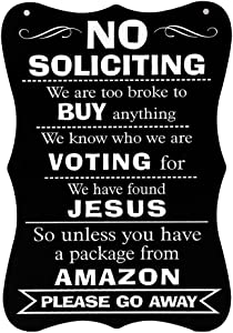 WaaHome Funny No Soliciting Sign 11.8''X7.8'' Large No Soliciting Unless Signs for House Door Business