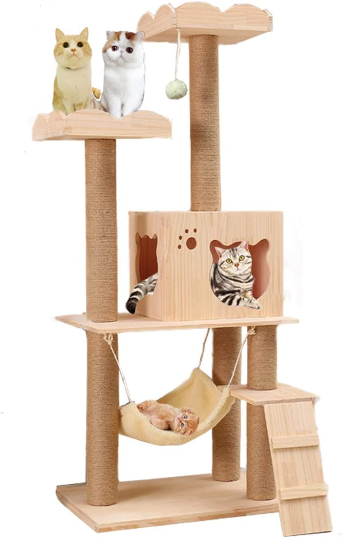 Wooden Cat Tree Condo with Natural Sisal Rope Scratching Post, Activity Tower for Cats Kittens Activity Tower Pet Play House Furniture Indoor
