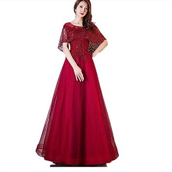 JKJHAH Vestidos De Novia Mujeres Banquetes Elegantes Vestidos De Noche Rojo, Borgoña, S