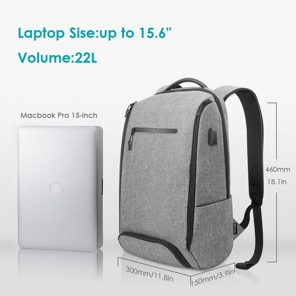 Laptop Backpack, REYLEO Backpack, Work Backpack for Man&Woman,Fits 15.6 Inch Laptop, with Shoe Compartment, External USB Charging Port, Water Resistant,Gray, Back to School Choice, RB06 by REYLEO (Image #5)