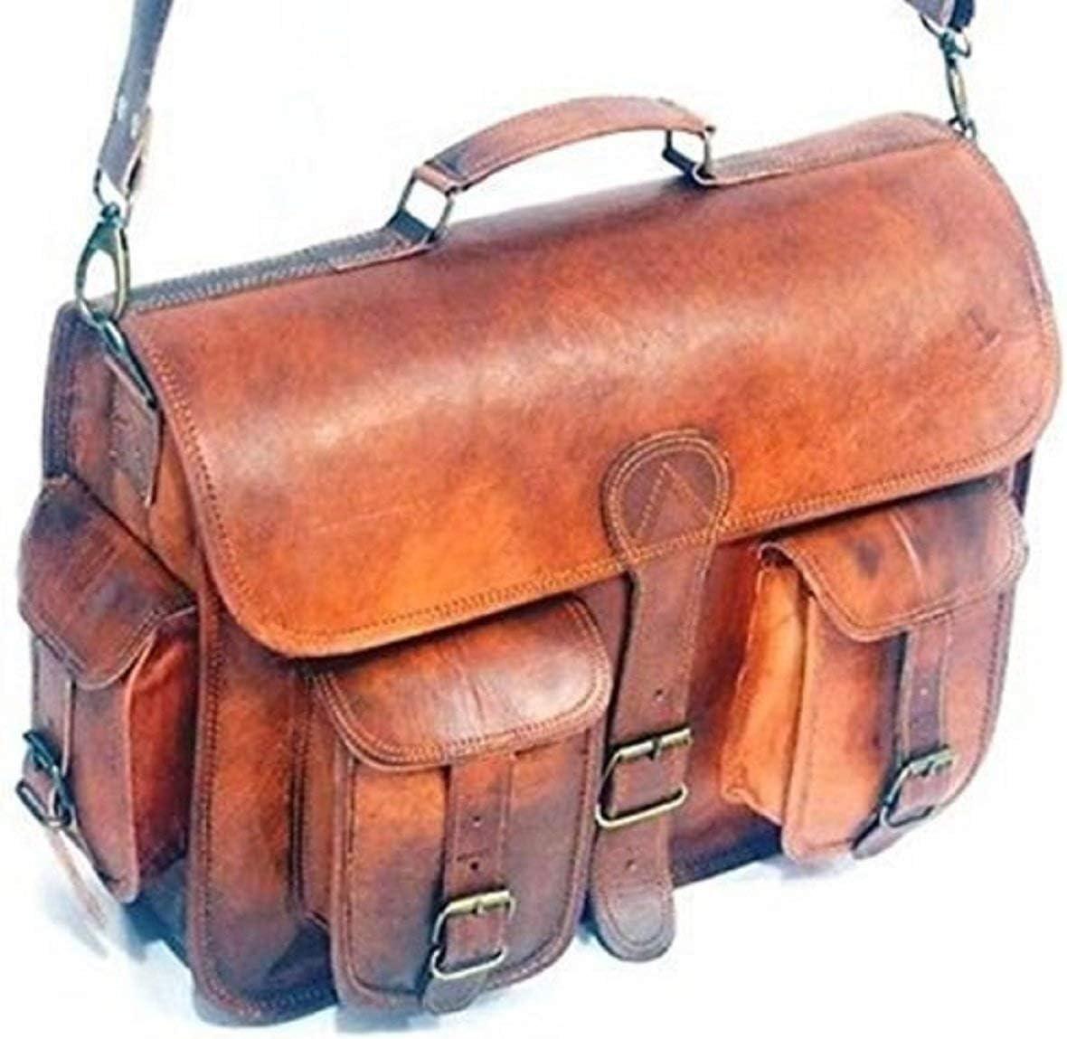 Handmade Vintage Brown Leather Briefcase Satchel Messenger Bag 16