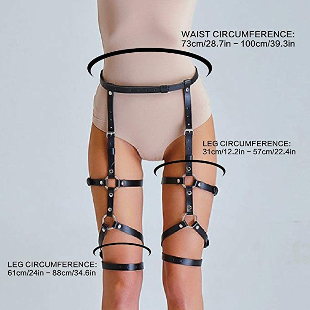 51c2227ec5f Amazon.com  CKMORLS Women Sexy Punk Leather Harness Garter Belt Adjustable  Waist Leg Cincher Cage Belt 4 Leg Rings(003
