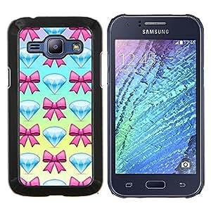 TECHCASE---Cubierta de la caja de protección para la piel dura ** Samsung Galaxy J1 J100 ** --la joya del diamante joya pajarita azul rosa