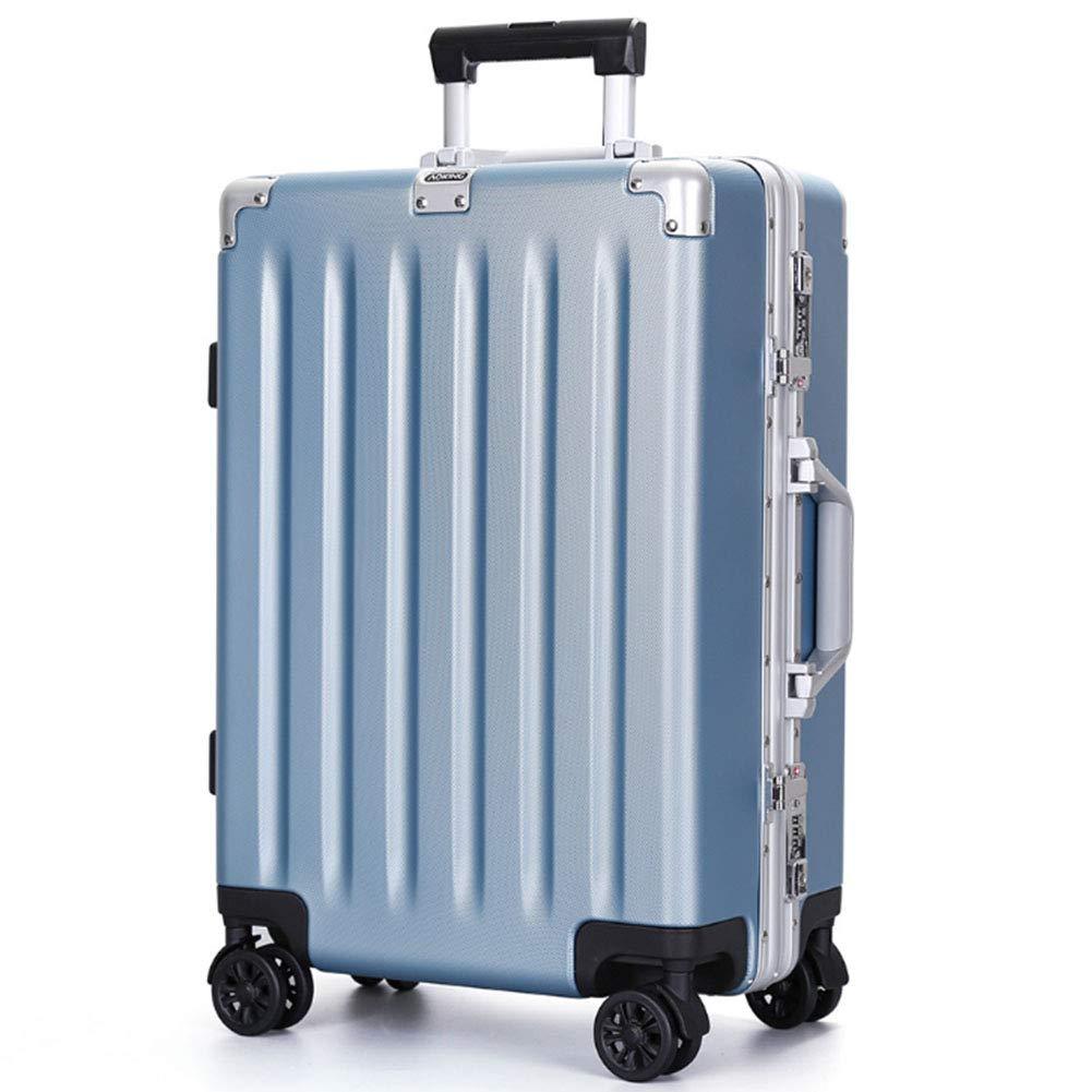 メタルトロリーケース、PCつや消しトロリーケース、ユニバーサルホイール、アルミフレームスーツケース税関ロック、高級スーツケース、旅行スーツケース 24inches Blue B07R9QJXGM
