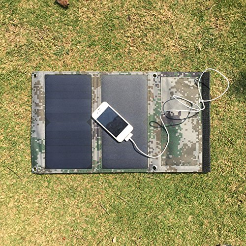 e Solar Cell Phone Chargers Folding Sunpower Solar Panel 5V 2.1A USB Output for iPhone iPad Samsung HTC Sony LG (Camouflage Green) ()