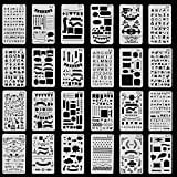 #6: Bullet Journal Stencils Plastic Planner Stencils Journal/Notebook/Diary/Scrapbook DIY Drawing Template 4x7 Inch, 24 Pieces