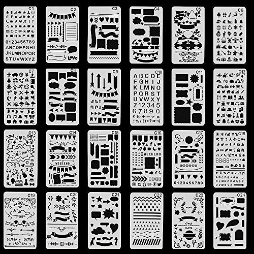 Bullet Journal Stencils Plastic Planner Stencils Journal/Notebook/Diary/Scrapbook DIY Drawing Template 4x7 Inch, 24 Pieces (Graffiti Style Letters)