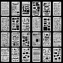 Bullet Journal Stencils Plastic Planner Stencils Journal/Notebook/Diary/Scrapbook DIY Drawing Template 4x7 Inch, 24 Pieces