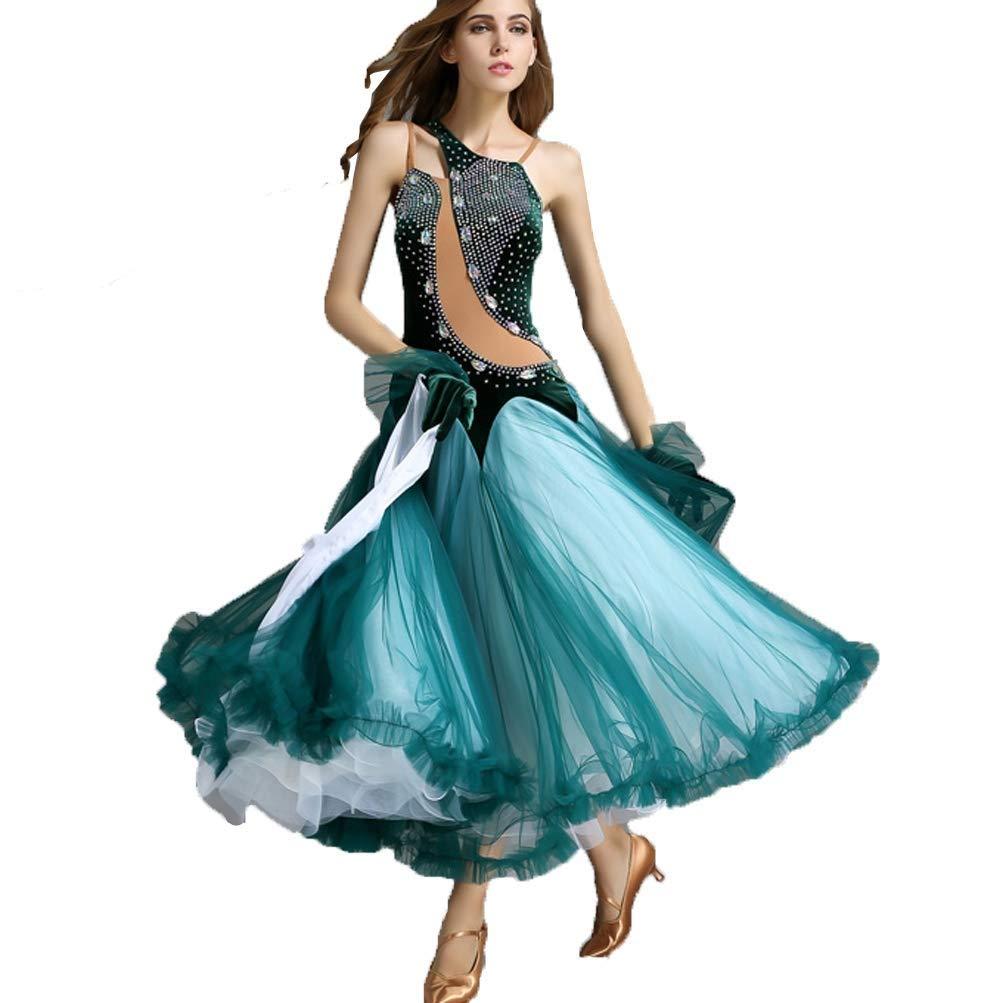 品質が 人格ベルベットステッチモダンダンス衣装コンペティション社交ドレスビッグスイングチュールタンゴスカートパフォーマンスと明るいラインストーン グリーン B07QDYQR97 M M|グリーン B07QDYQR97 グリーン M, アマクサグン:a98cd715 --- a0267596.xsph.ru