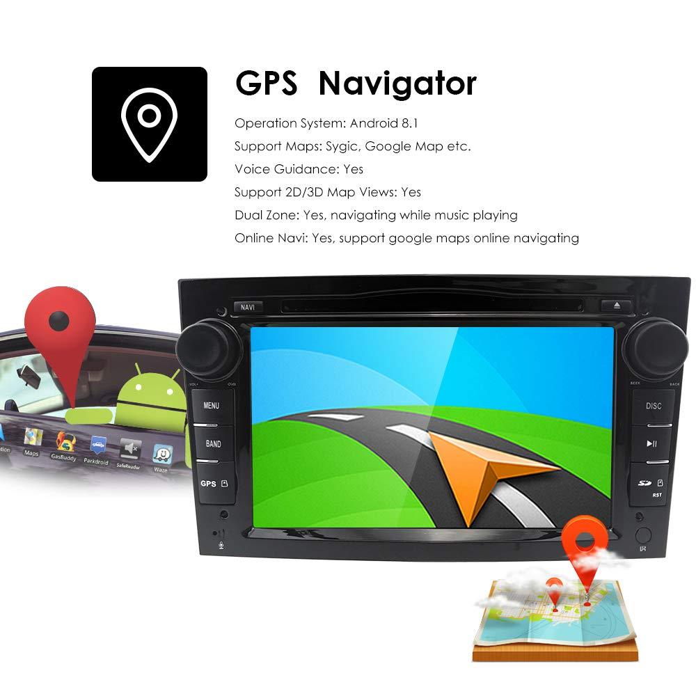 Android 8.1 Doble Din Radio estéreo del coche Pantalla táctil de 7 pulgadas en el tablero Navegación GPS Soporte WiFi Bluetooth Mirror Link SWC OBD para ...