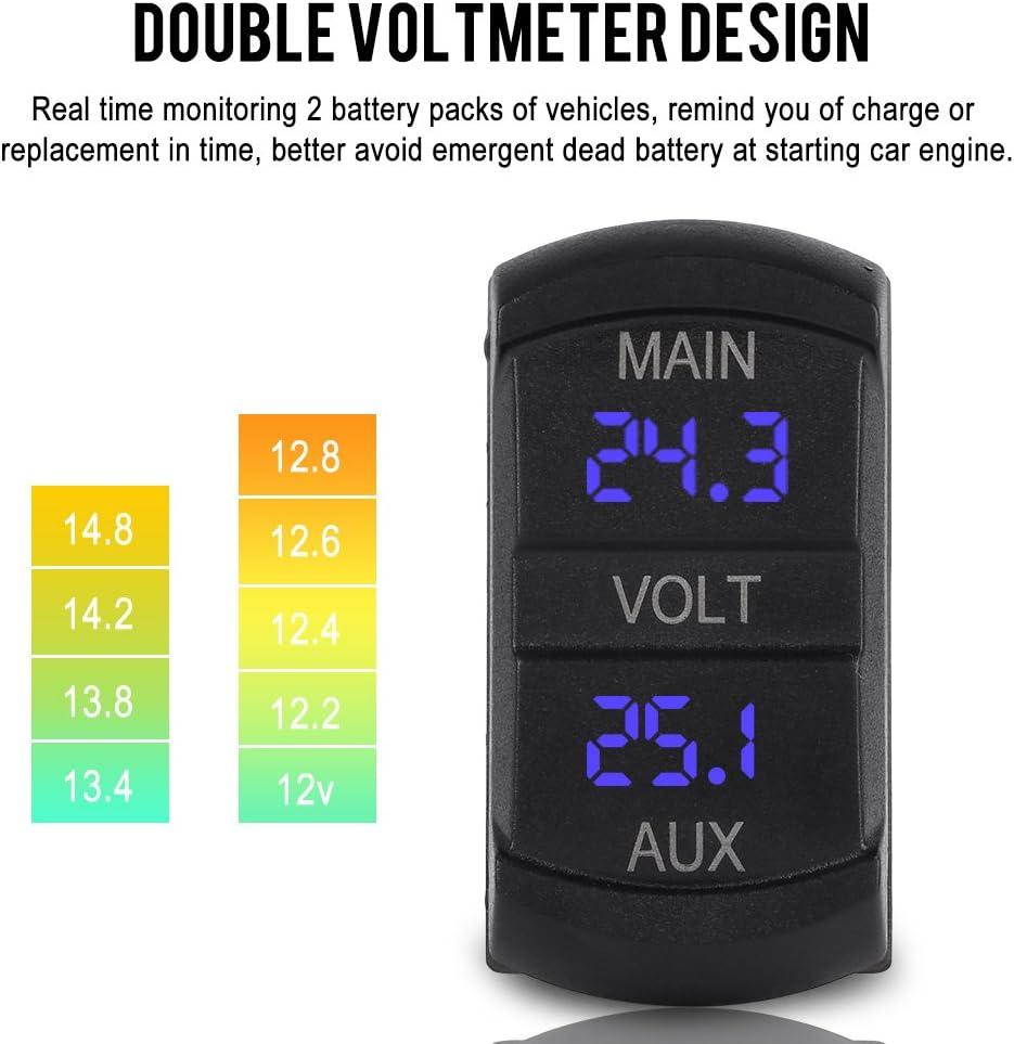Dual Voltmeter Voltage Monitor 10-60V Universal for Pickup RV ATV Battery Yctze Car LED Digital Panel