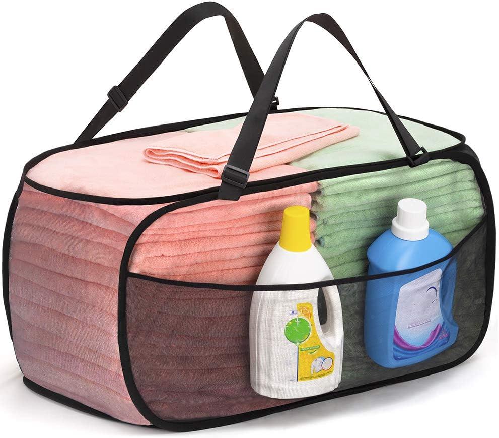 TENRAI Mesh Pop-Up Laundry Hamper,Large Opening, Adjustable Handles & Convenient Side Pocket,Machine Washable,Collapsible Laundry Basket Suitable for Home or Travel(Black)