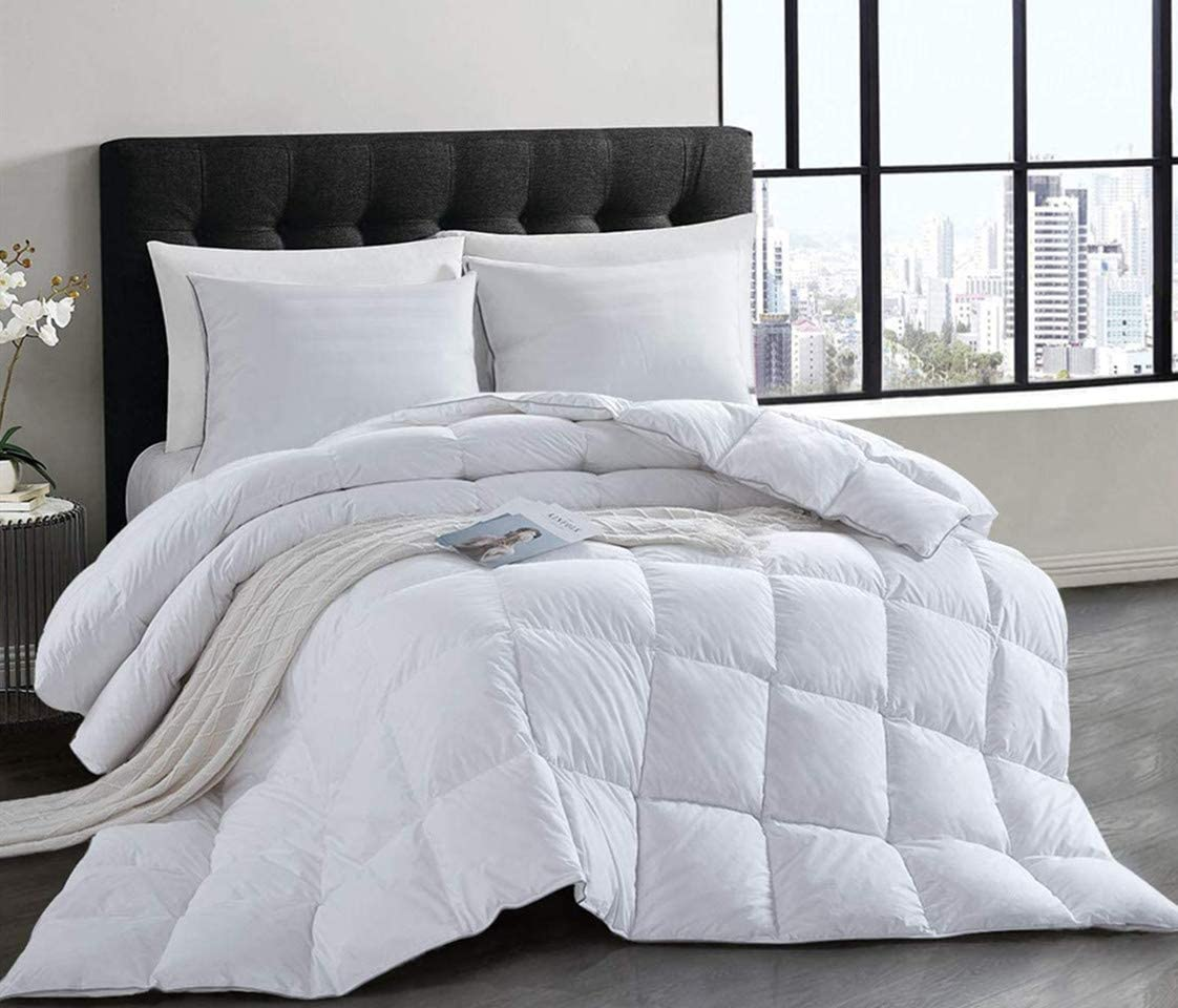 HOMBYS Natural White Goose Down Duvet King Size 10.5 Tog All Seasons Duvet Insert Classic Quilt Hypoallergenic 100% Cotton Shell Down Proof (10.5Tog, King)