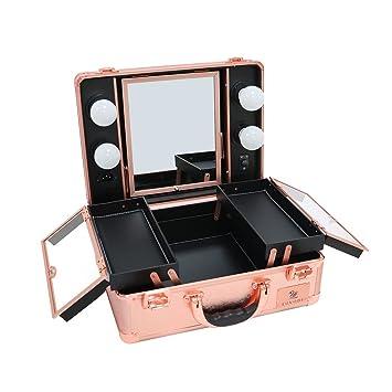 LUVODI Maleta de Maquillaje Profesional Estuche de Maquillaje de Aluminio Maletín de Cosméticos con Espejo y 4 Bombillas de Luces LED Color Oro Rosa