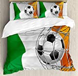 Irish Queen Duvet Cover Sets 4 Piece Bedding Set Bedspread with 2 Pillow Sham, Flat Sheet for Adult/Kids/Teens, Sports Theme Soccer Ball in a Net Game Goal with Ireland National Flag Victory Win
