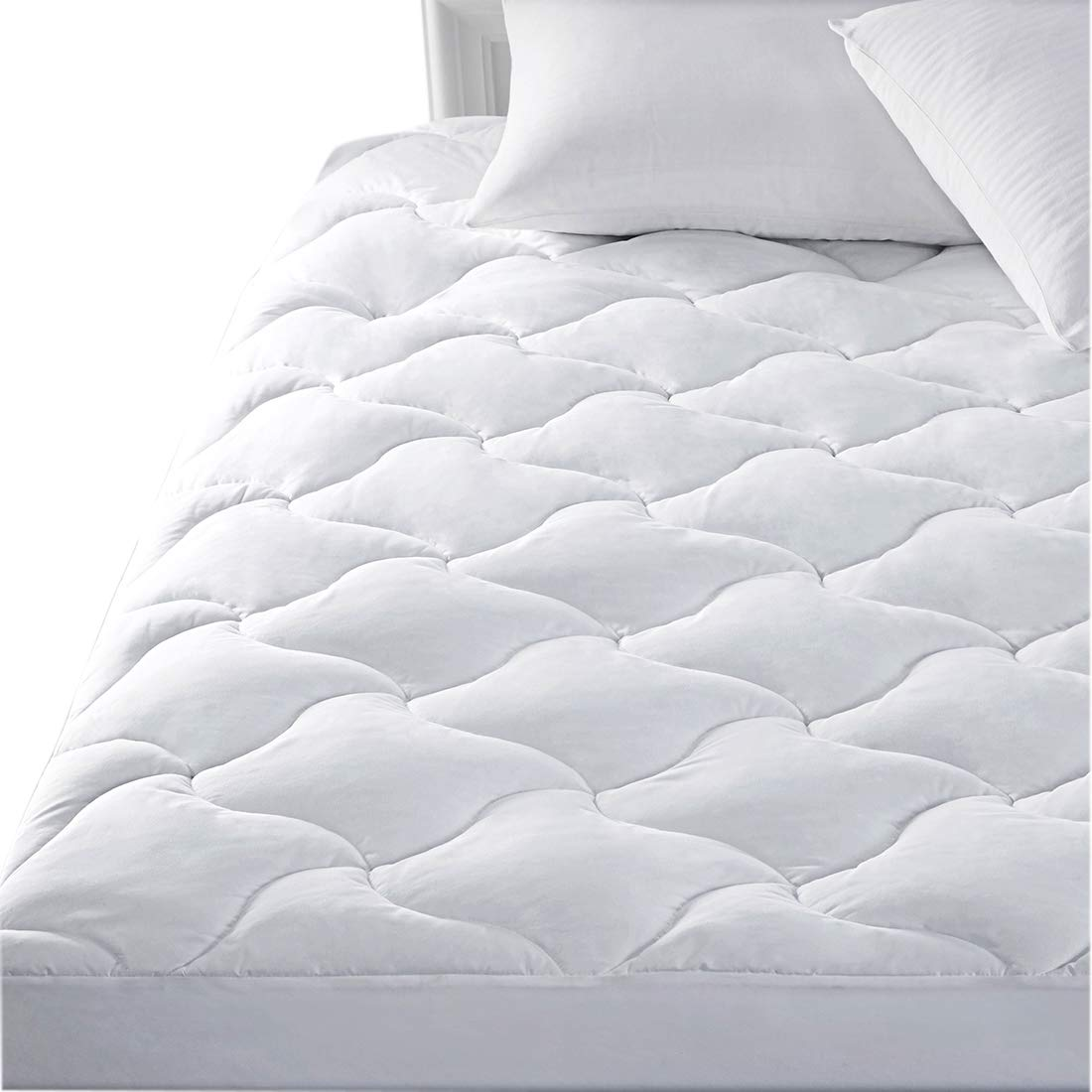 SWTMERRY Mattress Pads Cover Queen Size Hypoallergenic Quilted Fitted with deep Pocket Cooling and Breathable for Hotel, White