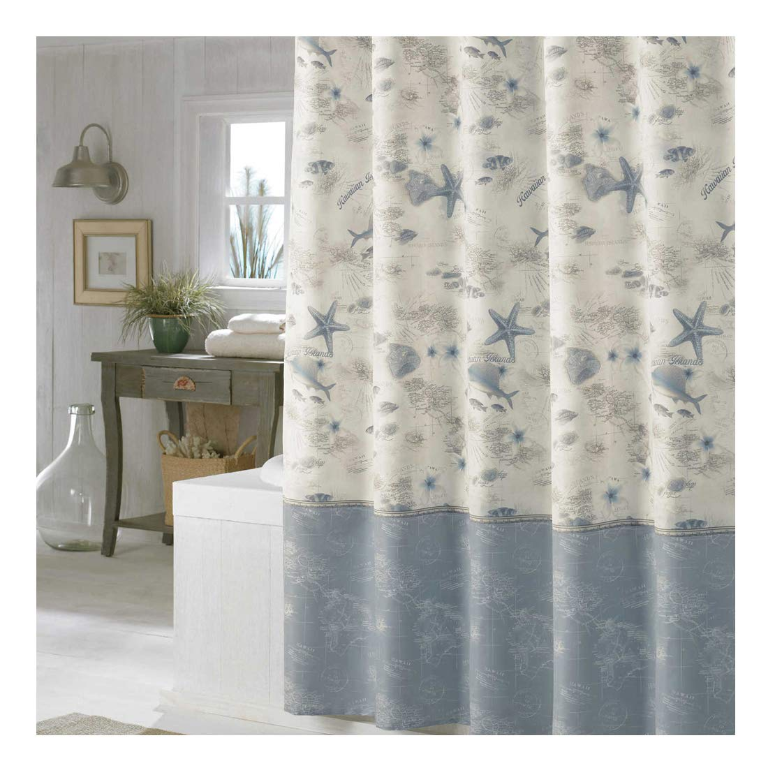 DS BATH Madamoiselle Seashell Shower CurtainWaterproof Polyester Fabric CurtainsOcean Decorative Curtain For BathroomMildew Resistant