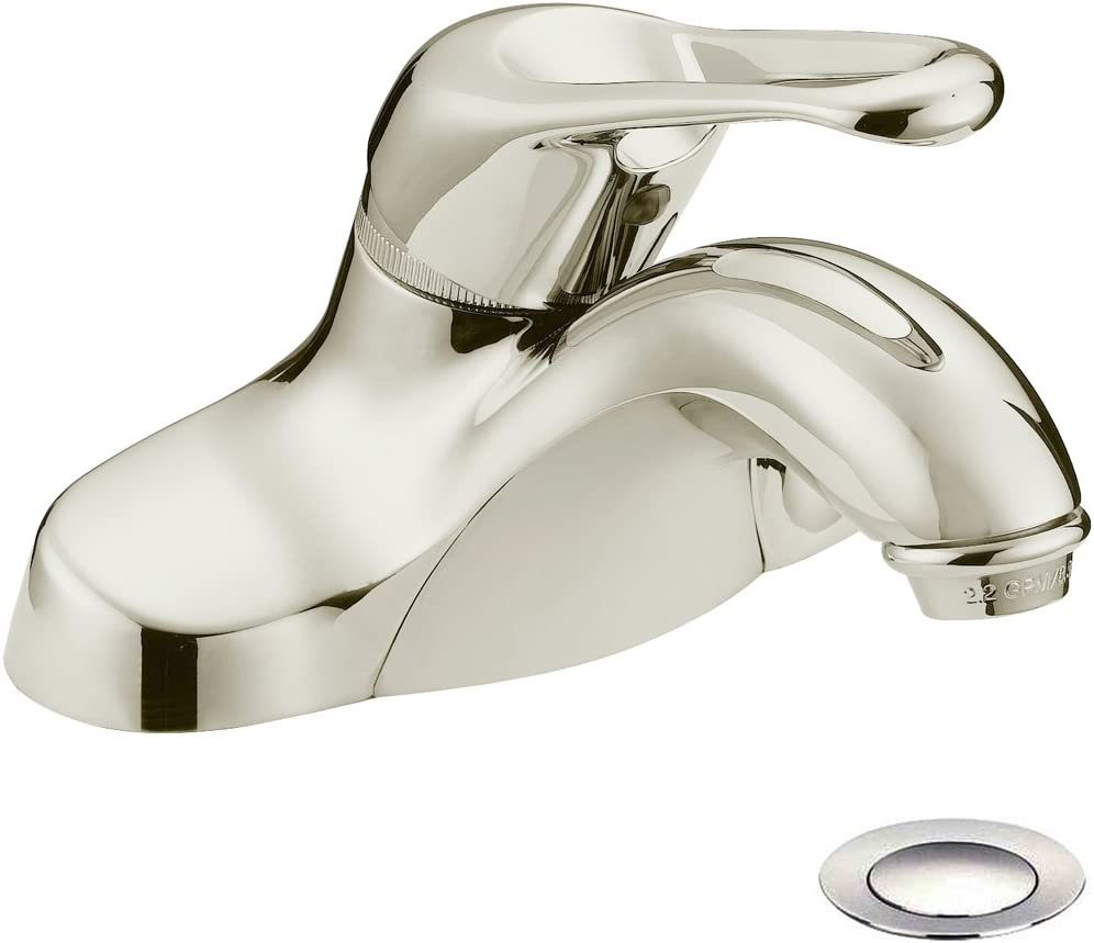Designers Impressions 615632 Satin Nickel Single Handle Lavatory Bathroom Vanity Faucet - Bathroom Sink Faucet with Matching Pop-Up Drain Trim Assembly