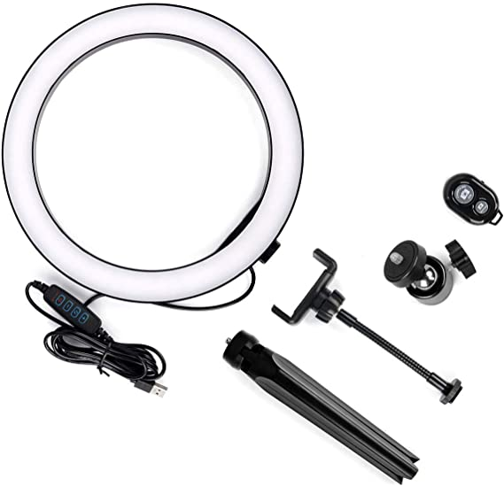Leyeet – Lámpara de mesa con anillo de luz LED de 10 pulgadas con trípode, 3 modos de luz y 10 modos de brillo, luz LED para cámara con rotación de ...