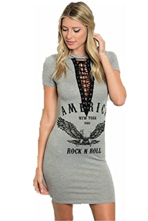 5b49d7cf92 Jersey Glam Dress Rock Bodycon Lace Up Sexy Gray Stretch Club Short Sleeve  Graphic V Neck