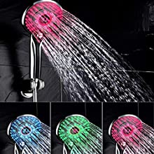 Shower Head - Spraying Mode Digital Display Handheld Shower Head with 3-Color Temperature Control LED Light.