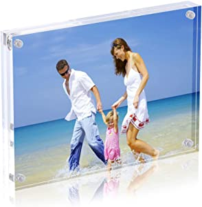 AmeiTech Acrylic Photo Frame 5x7 inches, Free Standing Desktop Double Sided Magnetic Picture Display, 10 + 10MM Thickness Clear Magnet Photo Frame with Microfiber Cloth, Gift Box Package