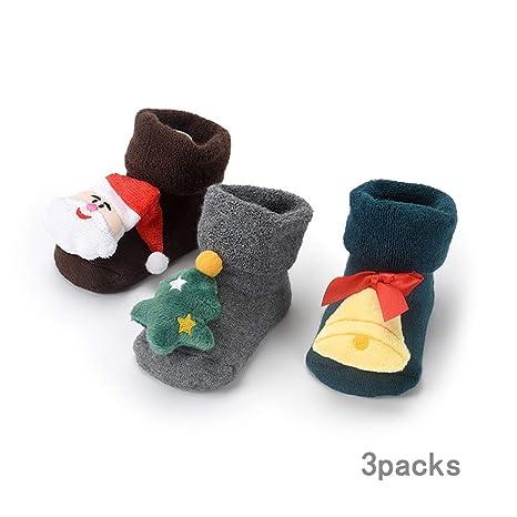 ZMLAU Calcetines De Navidad, 3 Pares De Invierno Bebé Algodón Calcetines Niños Navidad Calcetines De