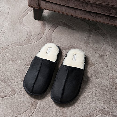 Slippers Slip Scuff KushyShoo Fluff On Black Mens Indoor Outdoor q05RwSTRx