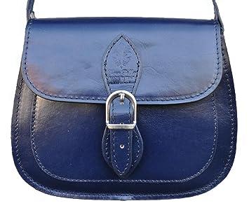 Damen Handtasche Echt Leder 276 (Blau)