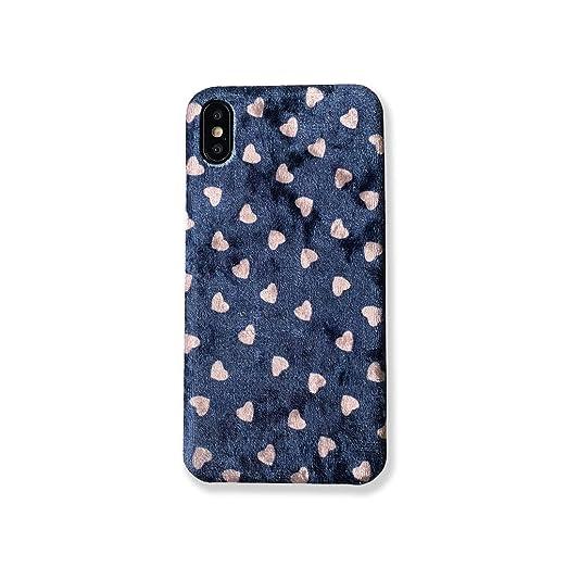 96143f926c Amazon | Spinas(スピナス 大人かわいい ハート 光沢感 ベロア スマホケース アイフォンカバー iPhone6/6s 6splus  iPhone7/8 iPhone7/8plus iPhoneX/XS iPhoneXSMAX ...