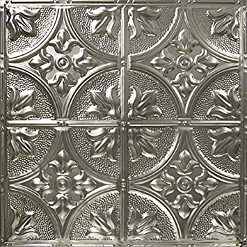5 Pack of 24×24 Nail-Up Tin Ceiling Tiles – Pattern 2, Unfinished – Victorian Floral Covers 20 sq.ft.