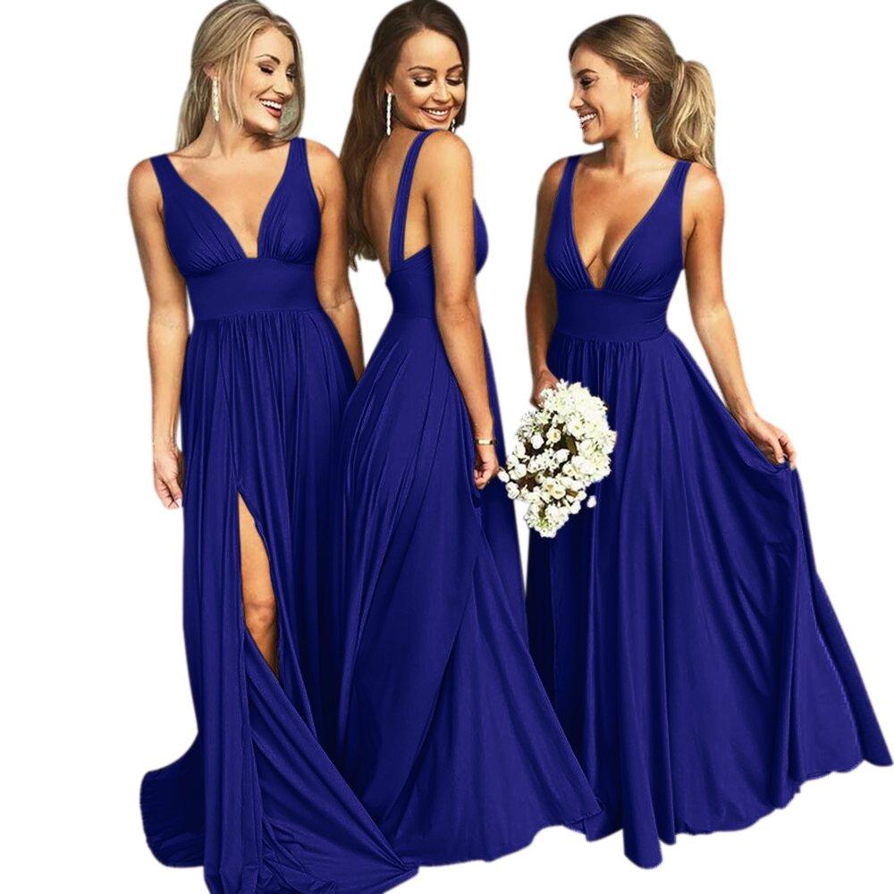 Vinbridal V Neck Backless Long Slit Side Beach Wedding Bridesmaid Dresses Royal Blue