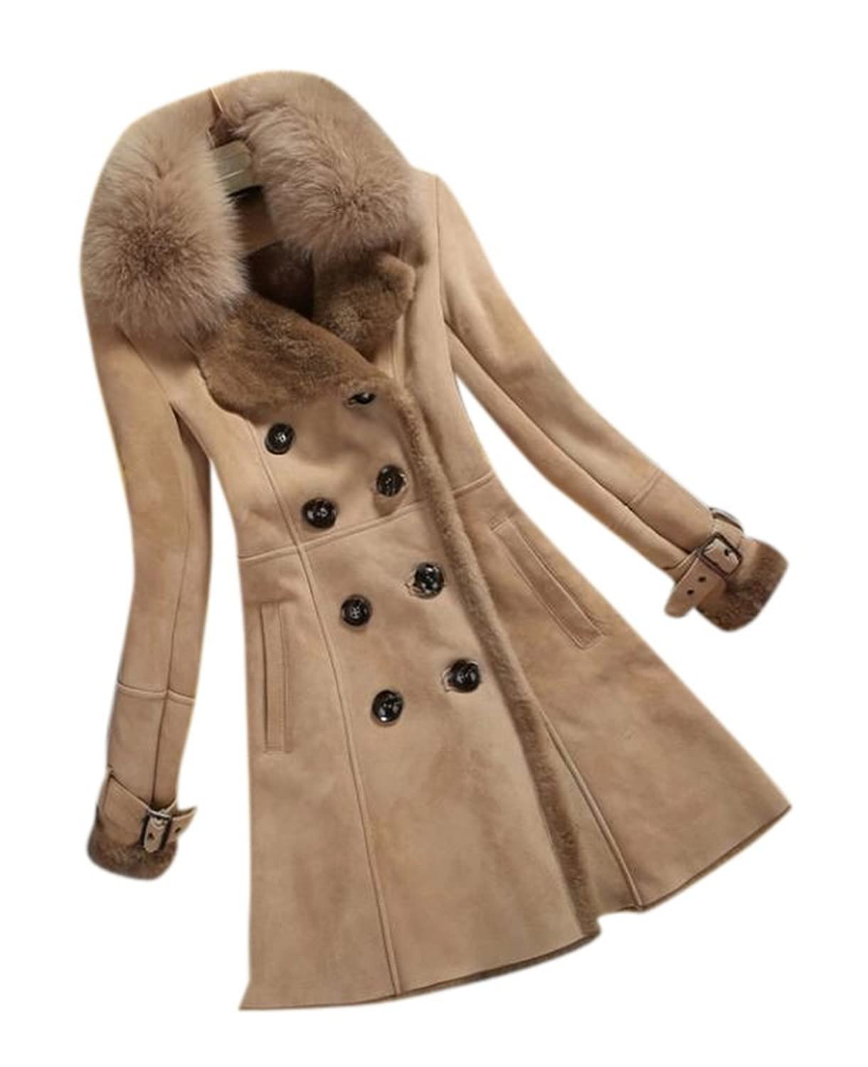 Allbebe Women's Winter Thicken Long Faux Fur Shearling Coat with ...