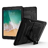 Spigen Tough Armor TECH with Custom-Fit Tempered Glass Designed for iPad 9.7 Case iPad Case (2017/2018) - Black