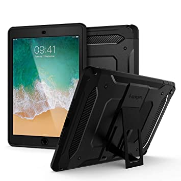 Spigen iPad 9.7 Pulgadas 2018/2017, Tough Armor Tech diseñado para iPad 9.7 Pulgadas, iPad 9.7 Pulgadas Case Cover - Negro