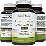 Natural Green Coffee Bean Extract Detox Cleanse Maximum Strength Weight Loss Dietary Supplement Increase Energy Appetite Suppressant Burn Fat Boost Metabolism For Women and Men by Nature Bound