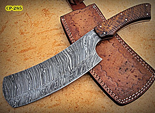 - RK- CP-285, Damascus Steel 12.00 Inches Cleaver style Knife - Solid Rose Wood Handle