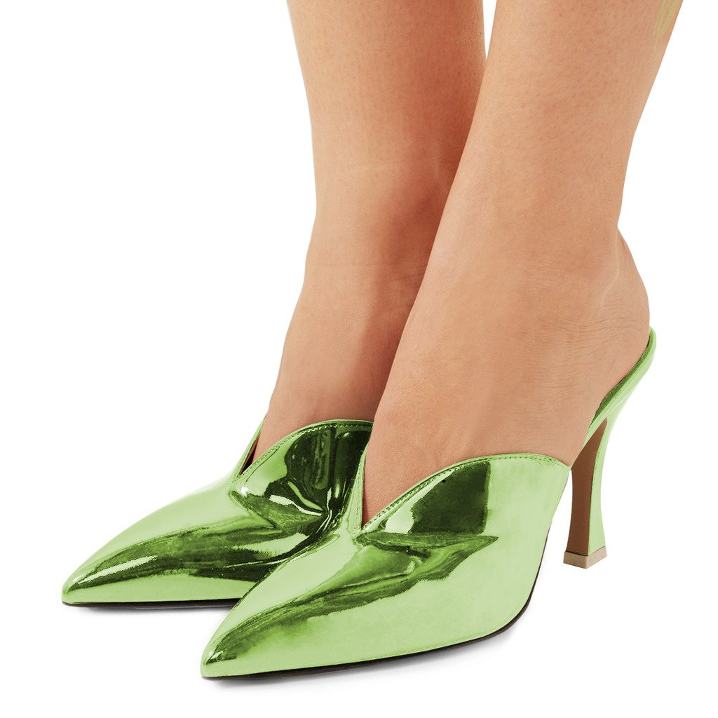 FSJ Women Gorgeous Pointy Toe Mule Pumps Slip On High Heeled Sandals Patent Party Shoes Size 14 Green