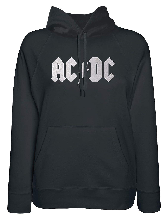 LaMAGLIERIA Sudadera Mujer ACDC Classic Logo White Print - Sudadera con Capucha AC/DC Rock Band Angus Young: Amazon.es: Ropa y accesorios