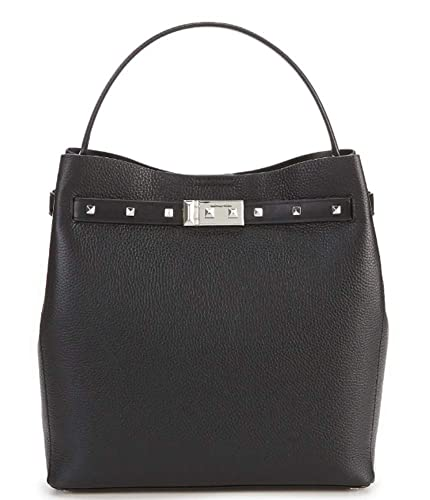 5ce5b630f8c2 Image Unavailable. Image not available for. Color  Michael Kors Addison  Medium Pebbled Leather Bucket Bag Black